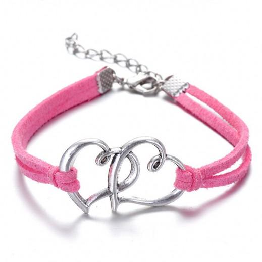 Helen Double Heart leather Pink Bracelet, M00732