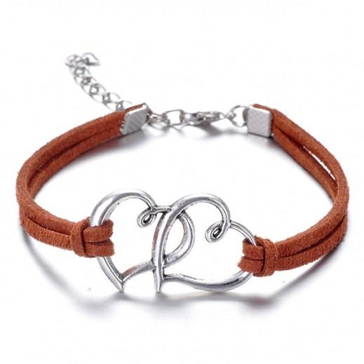 Helen Double Heart leather Orange Bracelet, M00733