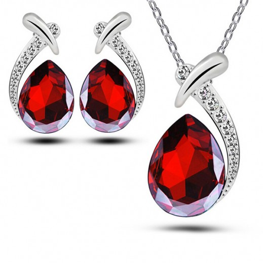 Helen 18K White Gold Plated Austrian Crystal Drop Red Jewelry Set, M01044