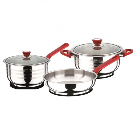 Berlin Cooking Set With Glass Lid 3 Pieces Set
