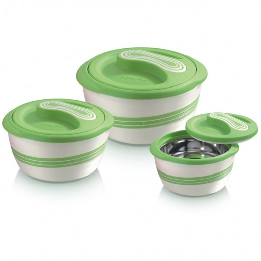 Pinnacle Food Warmer Set 3 Pieces - Green (500+1000+2300 ml)