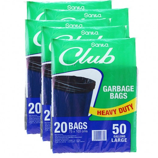 Wholesale - Sanita Club Garbage Bags Large 50 Gallons (5 × 20 Pieces)