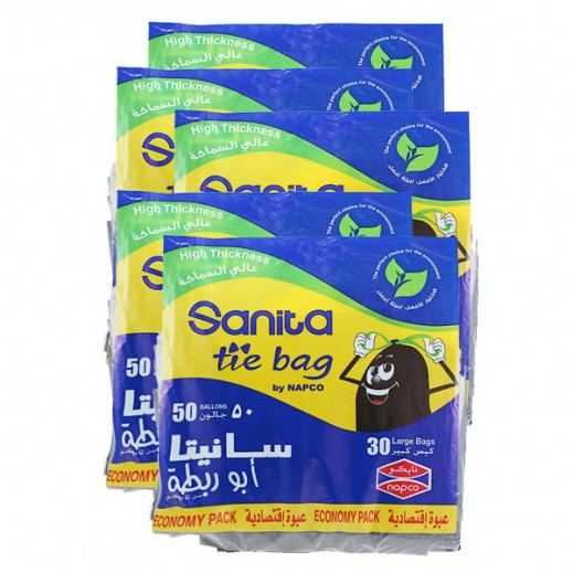 Wholesale - Sanita Tie Bags Large 50 Gallons (5 x 30 Pieces)