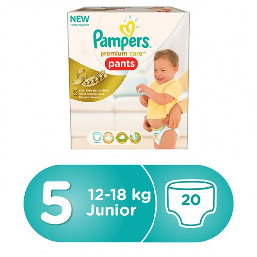 Pampers Premium Care Pants Diapers, Size 5, Junior, 12-18 kg, Carry Box, 20 Pcs