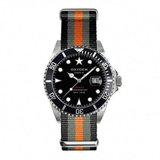 Oxygen Diver Amstradam Watch For Unisex Black/Grey/Orange EX-D-AMS-40