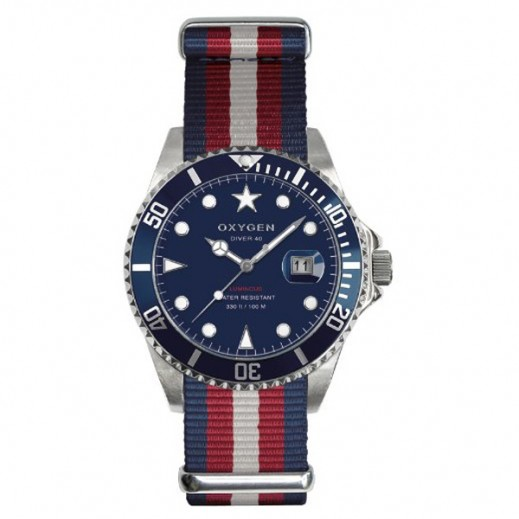 Oxygen Diver Atlantic Watch For Unisex Navy/Rouge/Brown EX-D-ATL-40
