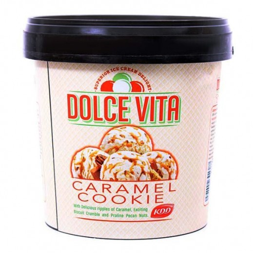 KDD Dolce Vita Caramel Cookie ice Cream 1 Ltr
