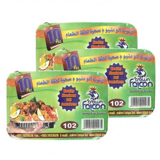Value Pack - Falcon Crown Aluminum Foil Container (Medium-102) 10 Pieces (3 Packs)