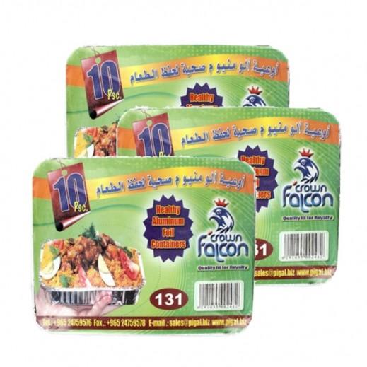 Value Pack - Falcon Crown Aluminum Foil Container (Large-131) 10 Pieces (3 Packs)