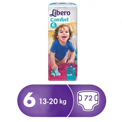 Libero Comfort Fit Diapers Size 6 (13 - 20 kg) 72 Pcs