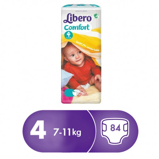 Libero Comfort Fit Diapers Size 4 (7-11 kg) 84 Pieces
