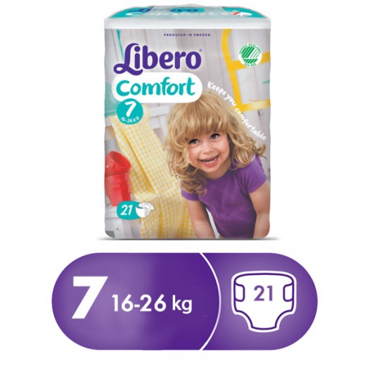 Libero Comfort Fit Diapers Size 7 (16 - 26 kg) 21 Pcs