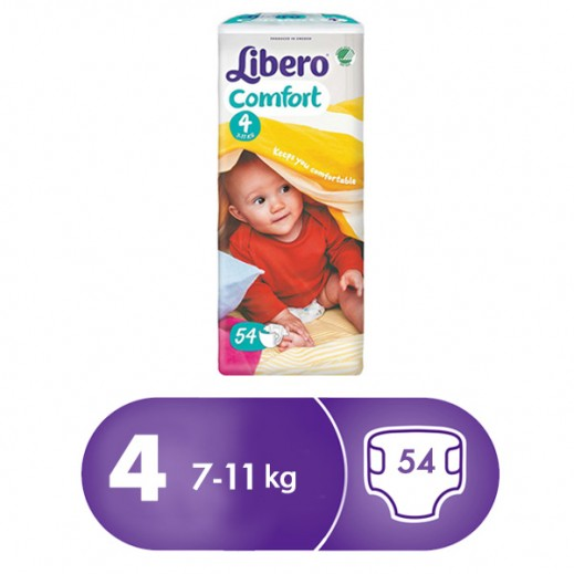 Libero Comfort Fit Diapers Size 4 (7-11 kg) 54 Pcs