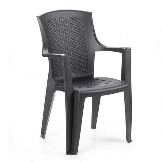 Progarden Plastic Chair with Arm Rest – Black