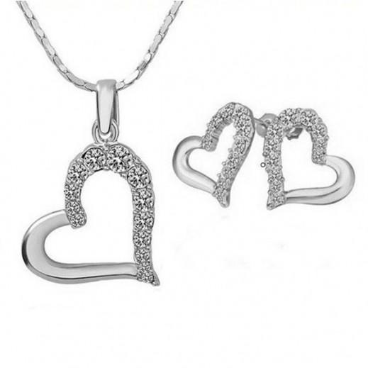 Nixon 18K White Gold Plated Big Heart Rhinestones Crystals Jewelry Set M01123