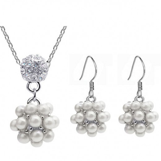 Lousio 18K White Gold Plated Freshwater Pearl Bridal Jewelry Set M01159 KR0017