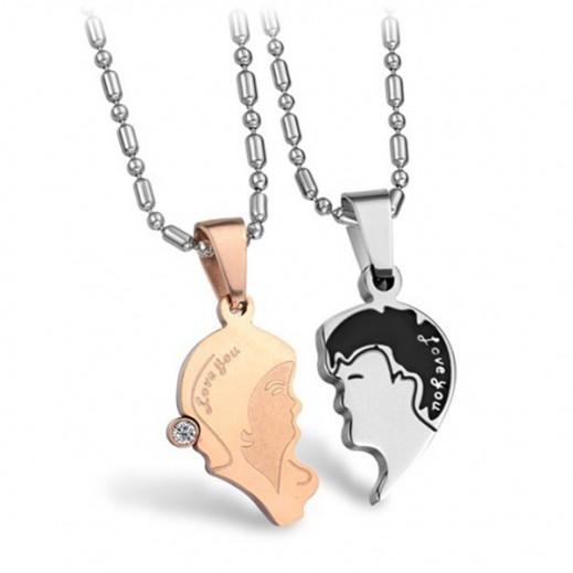 Lousio Korean Couple Titanium Steel CZ Diamond Inlaid Necklaces M01259