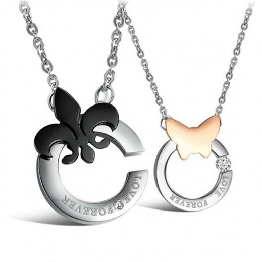 Lousio Butterfly Couple Titanium Steel CZ Diamond Inlaid Necklaces M01266