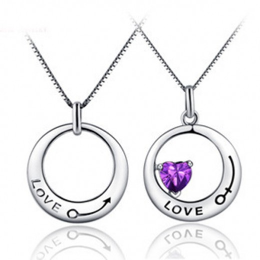 Lousio Lovers Gift Titanium Stainless Steel Couple Necklaces M01386