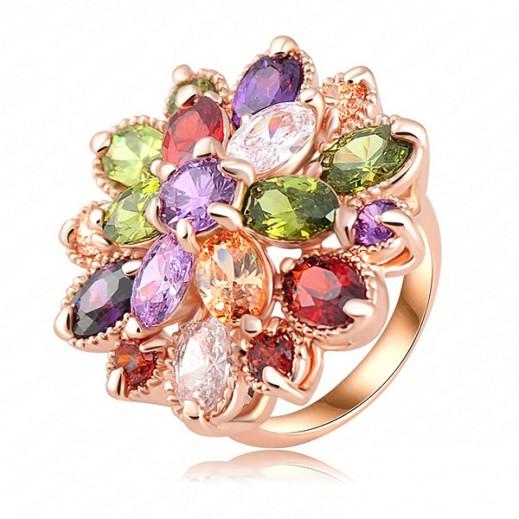 Helen 18K Rose Gold Plated 3 Times Multicolor Swiss Zircon Wedding Ring M01459