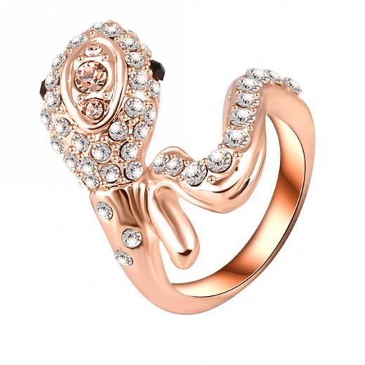 Helen 18K Rose Plated 3 Times Genuine Austrian Crystals 3D Cobra Snake Big Ring Size 9 M01545