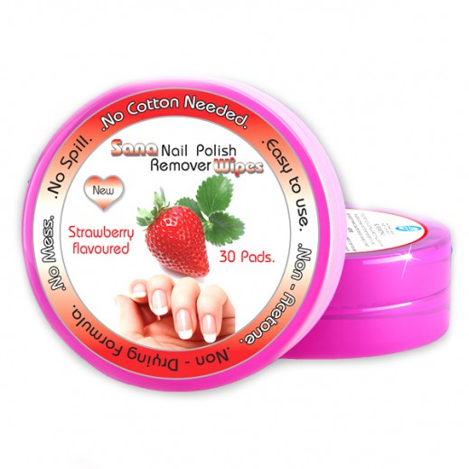 Sana Nail Polish Remover Wipes Strawberry Flavoured 30 Pads