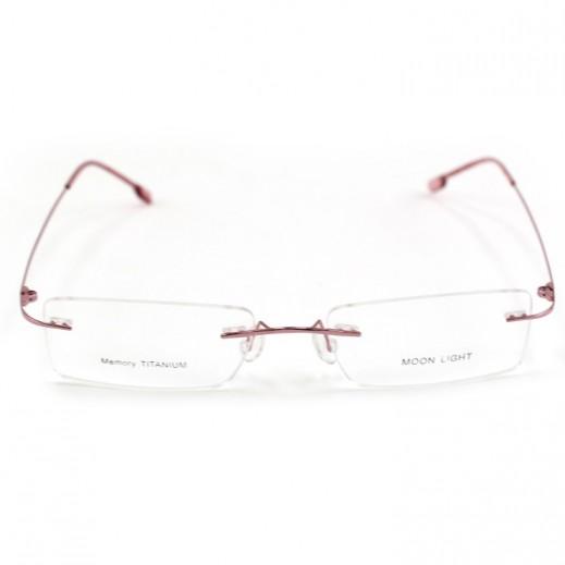 Memory Titanium Frame Eyeglasses Moon Light Rimless Pink