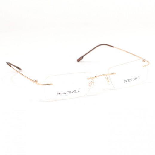 Memory Titanium Frame Eyeglasses Moon Light Rimless Gold/Brown
