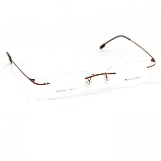 Memory Titanium Frame Eyeglasses Moon Light Rimless Brown