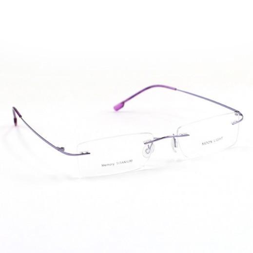 Memory Titanium Frame Eyeglasses Moon Light Rimless Silver/Purple