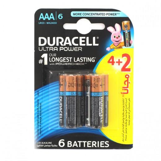 Duracell AAA Alkaline Batteries Ultra Power 4+2 Free Pack (1.5V)
