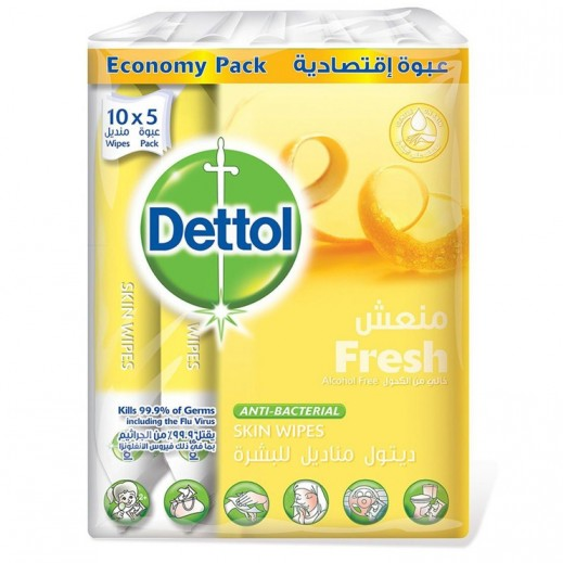 Dettol Fresh Anti Bacterial Skin Wipes 10 x 5 Pieces