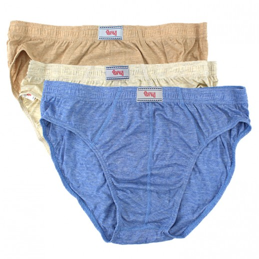 Try Underwear Men's Colored Brief Melange Assorted 3 Pieces (M - XXXL)