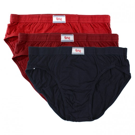 Try Underwear Men's Colored Brief Assorted 3 Pieces (M - XXL)