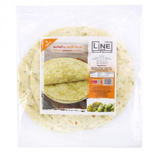 Line Food Olive & Jalapeno Tortilla Bread 200 g (5 Pieces)