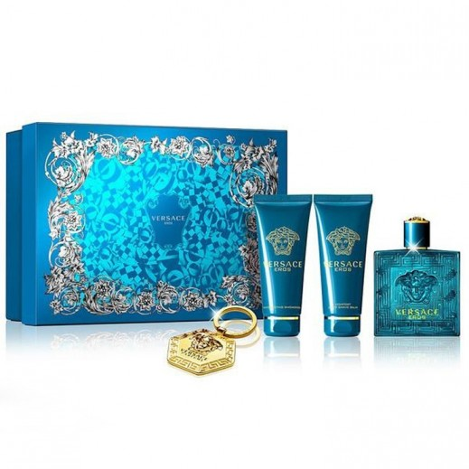Versace Eros Pour Homme Gift Set For Him EDT 100 ml + Shower Gel 100 ml + After Shave 100 ml + Keychain