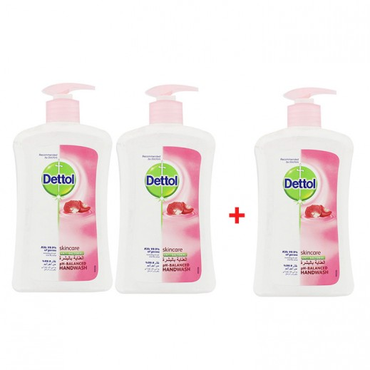 Dettol SkinCare Anti-Bacterial Hand Wash 200 ml 2+1 Free