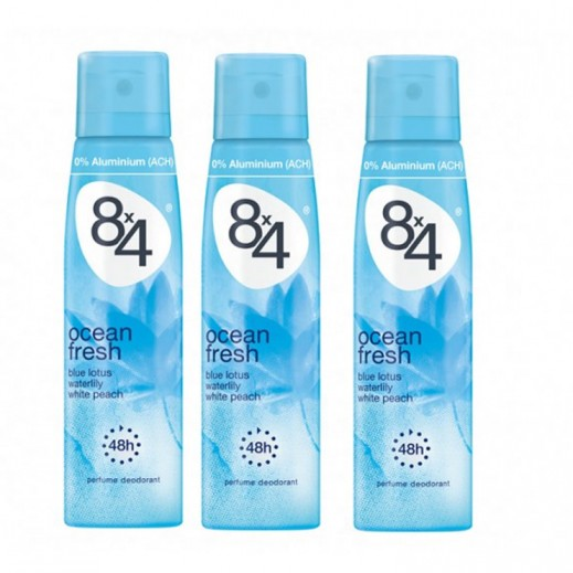 8X4 Women Ocean Fresh Deo Spray 150 ml 2+1 Free Prom