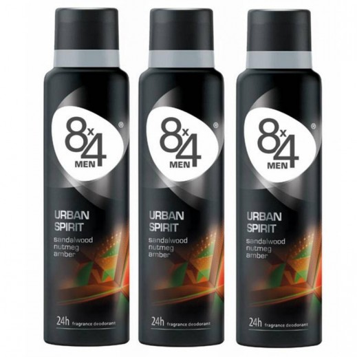 8X4 Men Urban Spirit Deo Spray 150 ml 2+1 Free Prom