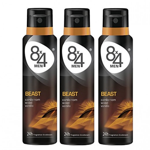 8X4 Men Beast Deo Spray 150 ml 2+1 Free Prom