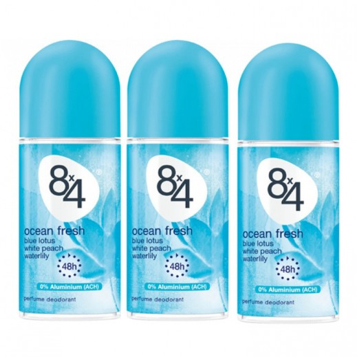8X4 Ocean Fresh Deo Roll on 50 ml 2+1 Free Prom