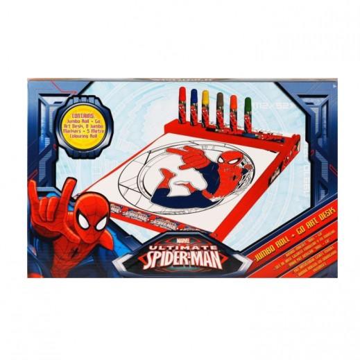 Marvel Ultimate Spiderman Kids Jumbo Roll + Go Art Desk
