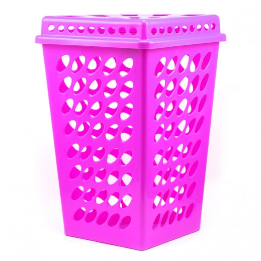 Plastic Corner Laundry Basket with Lid Purple