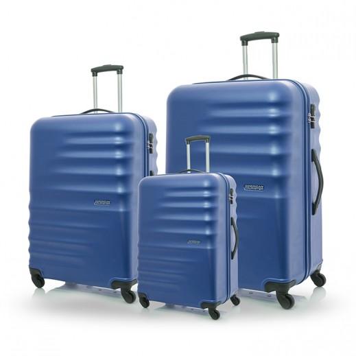 American Tourister Preston Hard Luggage 3 Pieces Set - Oxford Blue