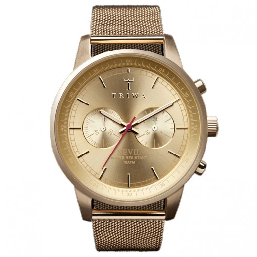 Triwa Nevil Gold Chronograph Mesh Band Men's Watch NEST104