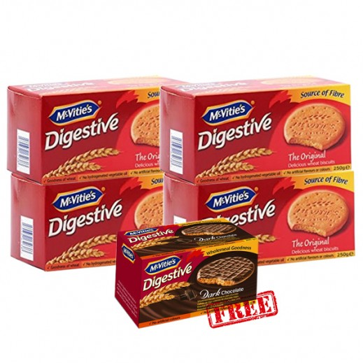 Mc Vities Digestive Orignal Biscuits 4x250 g + Mc vities Plain Chocolate Biscuits 250 g Free