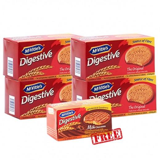 Mc Vities Digestive Orignal Biscuits 4x250 g + Mc vities Milk Chocolate Biscuits 250g Free