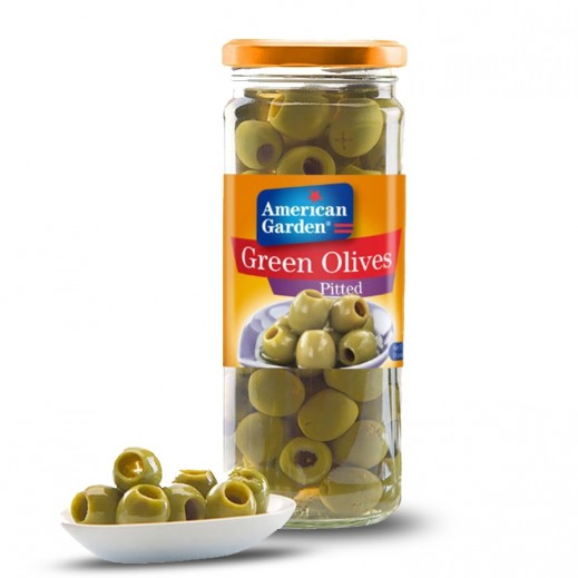 American Garden Pitted Green Olives 450 g