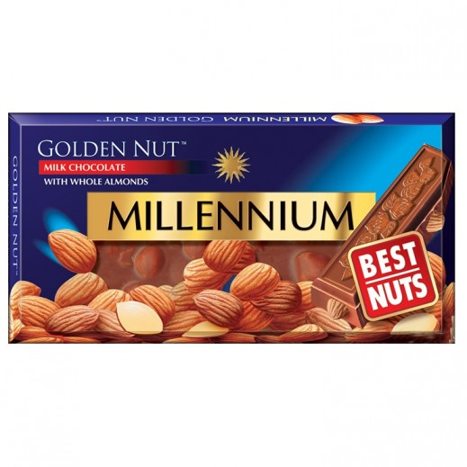 Millennium Golden Nut Milk Chocolate With Whole Almonds 100 g