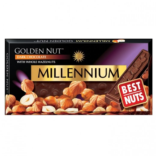 Millennium Golden Nut Dark Chocolate With Whole Hazelnuts 100 g